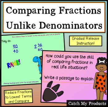 Comparing Fractions for Promethean Board with unlike Denominators