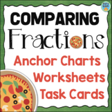 Comparing Fractions Task Cards, Anchor Charts, Worksheet