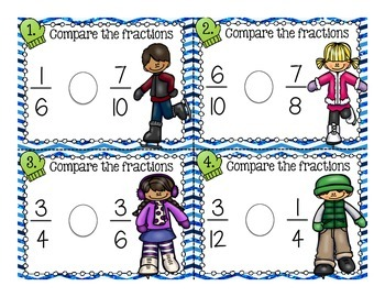 Comparing Fractions: Task Cards and Dice playing activities