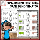 Comparing Fractions Same Denominator Worksheets