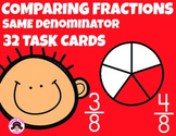 Comparing Fractions Same Denominator Task Cards