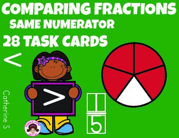 Comparing Fractions Task Cards Same Numerator