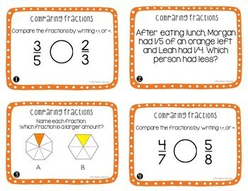 Comparing Fractions Task Cards for 3rd Grade