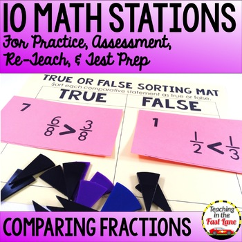 Comparing Fractions Test Prep Math Stations