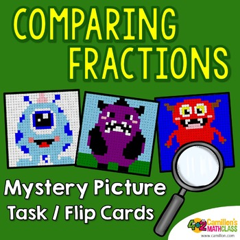 Fraction Comparision Mystery Pictures Task Cards/Flip Cards