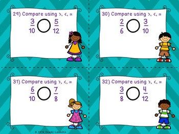 Comparing Fractions with Different Numerators and Denominators Task Cards 4.NF.2