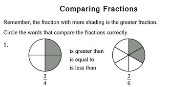 Comparing Fractions, 2nd grade - Individualized Math - worksheets