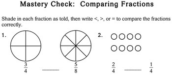 Comparing Fractions, 3rd grade - Individualized Math - worksheets