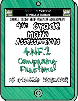 Comparing Fractions - 4.NF.2 Self Grading Assessment Google Forms