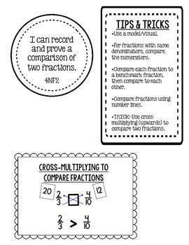 Comparing Fractions Journal & Exit Tickets - 4NF2