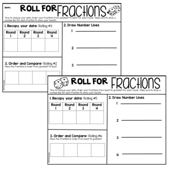 Ordering Fractions Dice Game