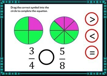 Comparing Fractions Boom Cards (with visuals!) - 24 Self-checking cards!