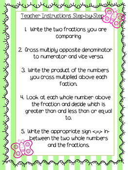 Comparing Fractions Butterfly Method