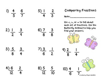 Comparing Fractions (CCSS 3.NF.A.3d)