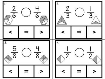 Comparing Fractions Clip Cards {Same Denominator}
