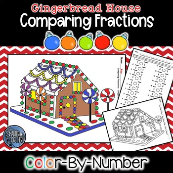 Comparing Fractions Color by Number - Gingerbread Math