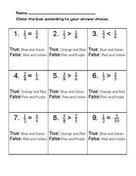 Comparing Fractions Coloring