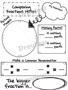 Comparing Fractions & Decimals Note Pages