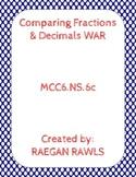 Comparing Fractions & Decimals WAR