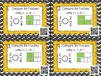 Comparing Fractions Differentiated QR Code Task Cards