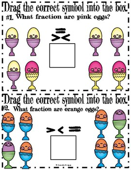 Comparing Fractions: Digital & Printable Task Cards (EASTER/SPRING EDITION)