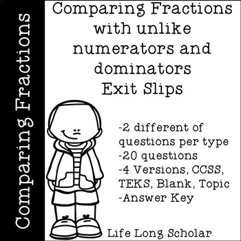 Comparing Fractions (TEKS 4.3D, CCSS.4.NF.A.2) Exit Slips