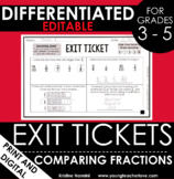 Comparing Fractions Exit Tickets Differentiated Math Assessments - Quick Check