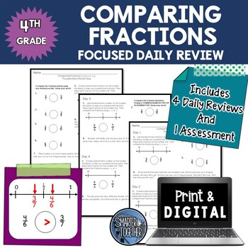 Comparing Fractions - Focused Daily Review - 4th Grade