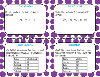 Comparing Fractions:  Fourth Grade Task Cards