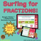 Comparing Fractions Game Surfing Theme - Distance Learning