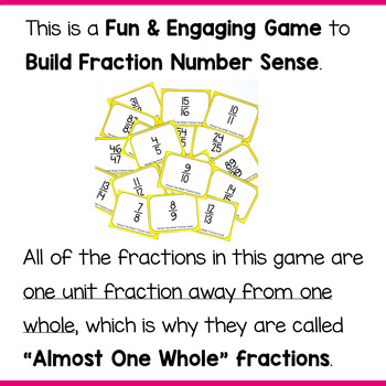 """Comparing Fractions Game using Fractions that are """"Almost One Whole"""""""