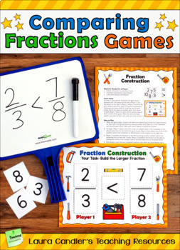 Comparing Fractions Games Bundle | Comparing and Ordering Fractions Activities