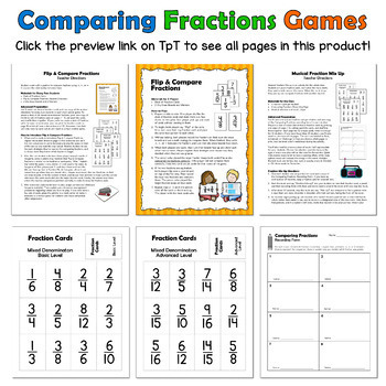 Comparing Fractions Games for Math Centers or Cooperative Learning Practice