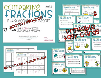 Comparing Fractions GOOGLE Task Cards