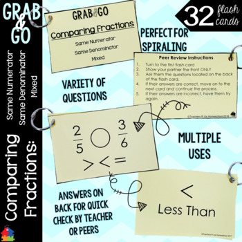 Comparing Fractions Grab & Go Flashcards