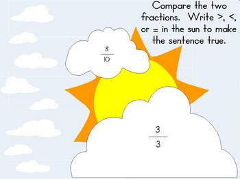 Comparing Fractions - Greater Than, Less Than, Equal -  Smart Board