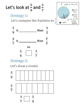 Comparing Fractions Guided Practice Worksheet 1