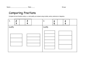 Comparing Fractions Intervention/differentiated lesson