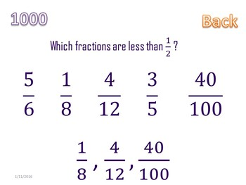 Comparing Fractions Knockout Game