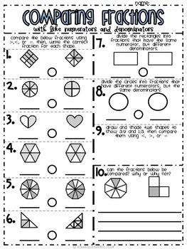 Comparing Fractions: Like Numerators and Denominators