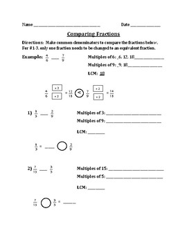 Comparing Fractions - Making Common Denominators