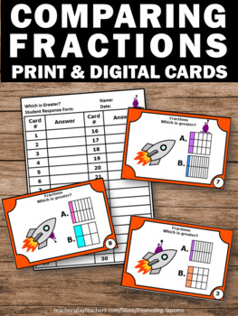 Comparing Fractions Task Cards, 3rd Grade Math Centers, Fraction Games SCOOT