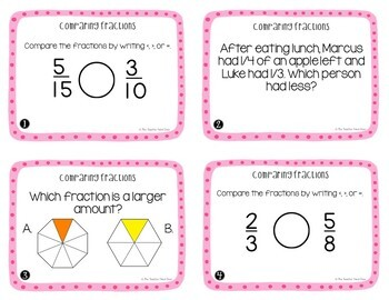 Comparing Fractions Task Cards | Comparing Fractions Center Game