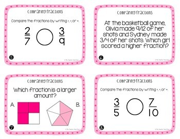 4th Grade Comparing Fractions Task Cards | Comparing Fractions Center Game