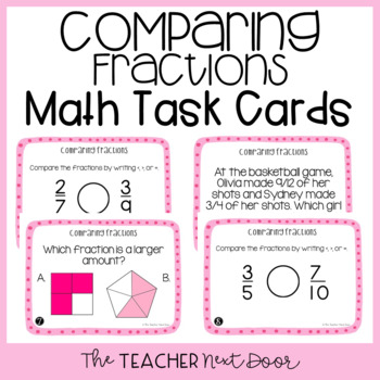 Comparing Fractions Task Cards for 4th Grade