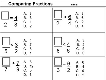 Comparing Fractions- Missing Numerator