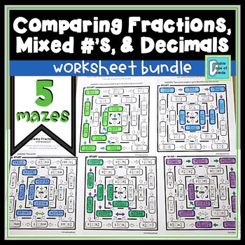 Comparing Fractions Mixed Numbers And Decimals Worksheet Bundle
