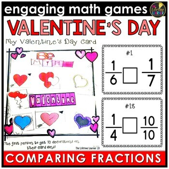 Valentine's Day Comparing Fractions Game