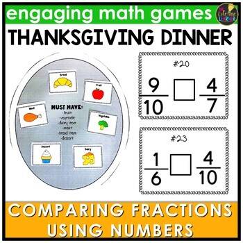 Comparing Fraction Numbers Thanksgiving Game