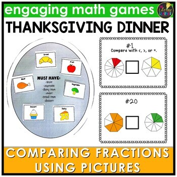 Comparing Fraction Pictures Thanksgiving Game